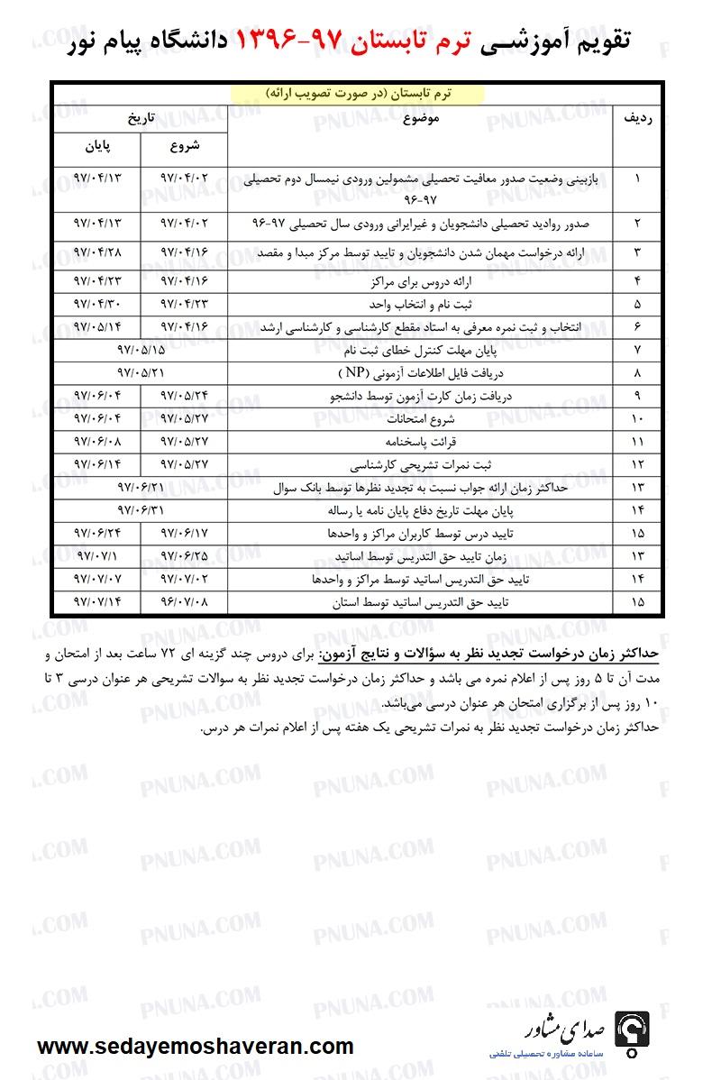 تقویم آموزشی و تاریخ انتخاب واحد ترم تابستان پیام نور 97