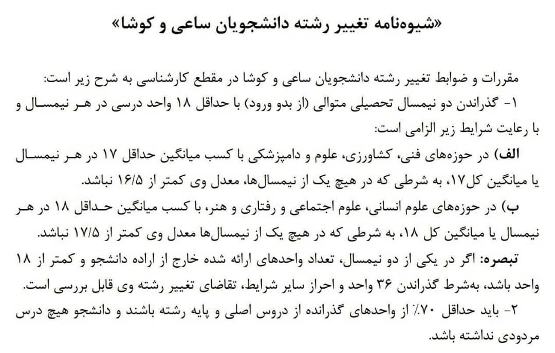 تغییر رشته کارشناسی دانشگاه تهران